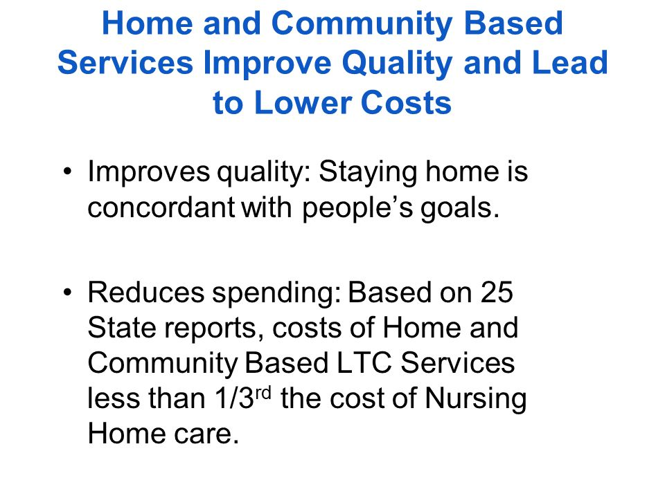 Study: Meals delivered to home reduces need for nursing home 10/14/2013 | HealthDay News A study published today in Health Affairs found if all 48 contiguous states increased by 1% the number of elderly who got meals delivered to their homes, it would prevent 1,722 people on Medicaid from needing nursing home care.