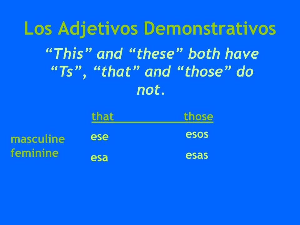 Los Adjetivos Demonstrativos How do you know which one to use?.