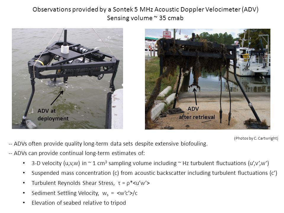 (Cartwright et al., 2009) Concentration Calibration Curves In-situ pump samples analyzed for total suspended solids Concentrations used to calibrate acoustic backscatter from deployed tripods All observations utilize Sontek 5 MHz ADV Ocean Model Significant scatter in suspended solids vs.