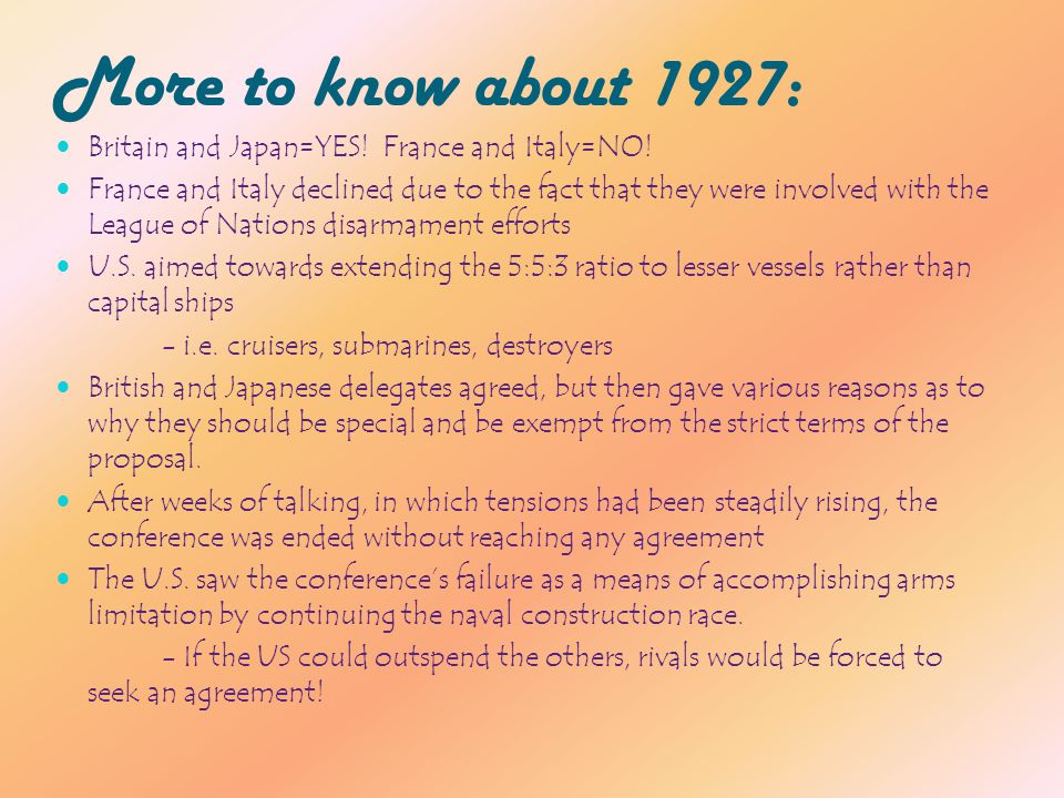 Geneva Naval Conference TAKE #2: 1932 Take #2 on the discussion of naval arms limitation Also held to discuss a reduction in land forces and limits on weapons 61 countries (including the US, the USSR, and Germany!) came to the conference with a want of deduction in general arms.