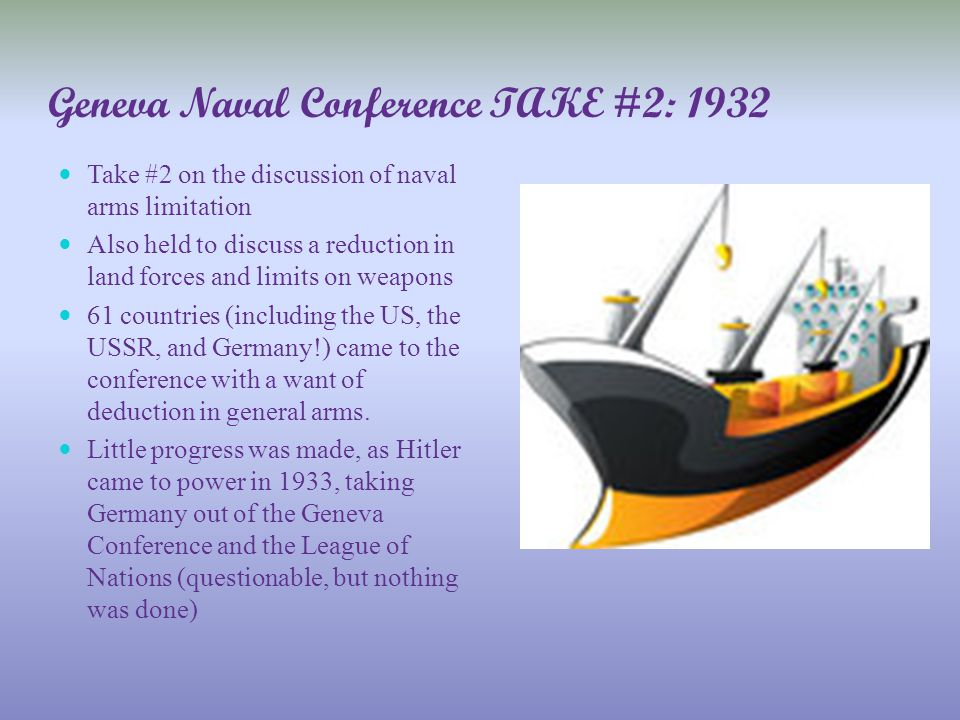 Fun Facts about 1932: The conference dragged on until 1934, but produced no result Americans regarded the conference more as a European peace conference with European political questions to be settled. - work to be done by the leaders of Europe.