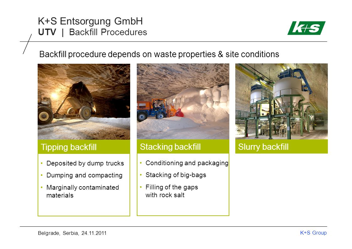 K+S Group K+S Entsorgung GmbH UTV | Backfill Procedures Deposited by dump trucks Dumping and compacting Marginally contaminated materials Tipping backfill Stacking backfillSlurry backfill Material pneumatically transportable Mixing with salt brine Sludge production Pumping into caverns Conditioning and packaging Stacking of big-bags Filling of the gaps with rock salt Backfill procedure depends on waste properties & site conditions Belgrade, Serbia, 24.11.2011