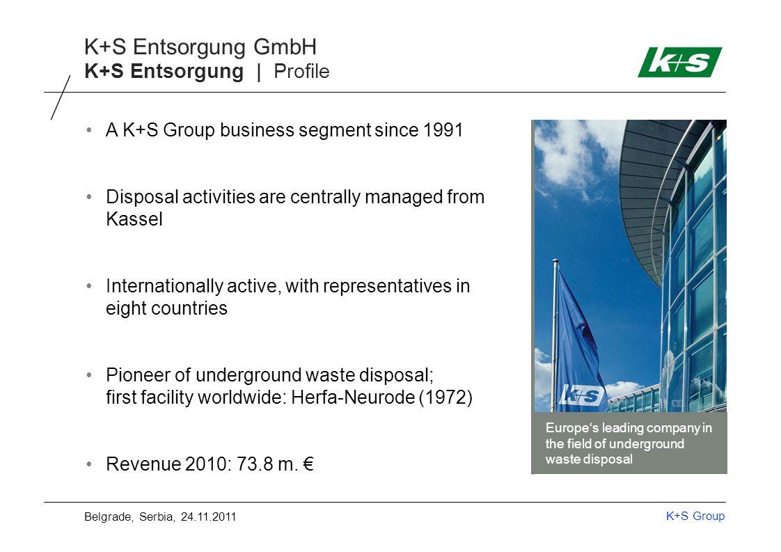 K+S Group K+S Entsorgung GmbH K+S Entsorgung | Areas of activity Recycling K+S Entsorgung Underground waste management Disposal (UTD) Reutilisation (UTV) Salt slag (REKAL) Building material Belgrade, Serbia, 24.11.2011