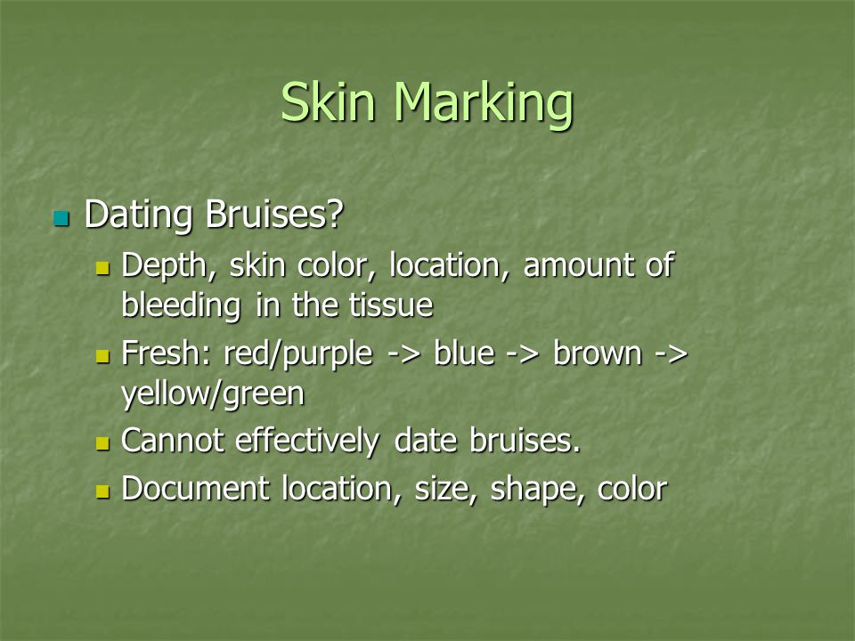 Skin Marking Pattern injuries Pattern injuries Central clearing Central clearing Hand Hand Iron Iron Belt Belt Baseball bat Baseball bat Fingers Fingers