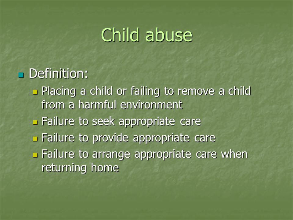 Child Abuse 1998 National Institute of Child Abuse 1998 National Institute of Child Abuse 3 million referrals 3 million referrals 1/3 substantiated 1/3 substantiated 53% neglect 53% neglect 23% physical 23% physical 12% sexual 12% sexual 1100 deaths (1.6/100,000) 1100 deaths (1.6/100,000)