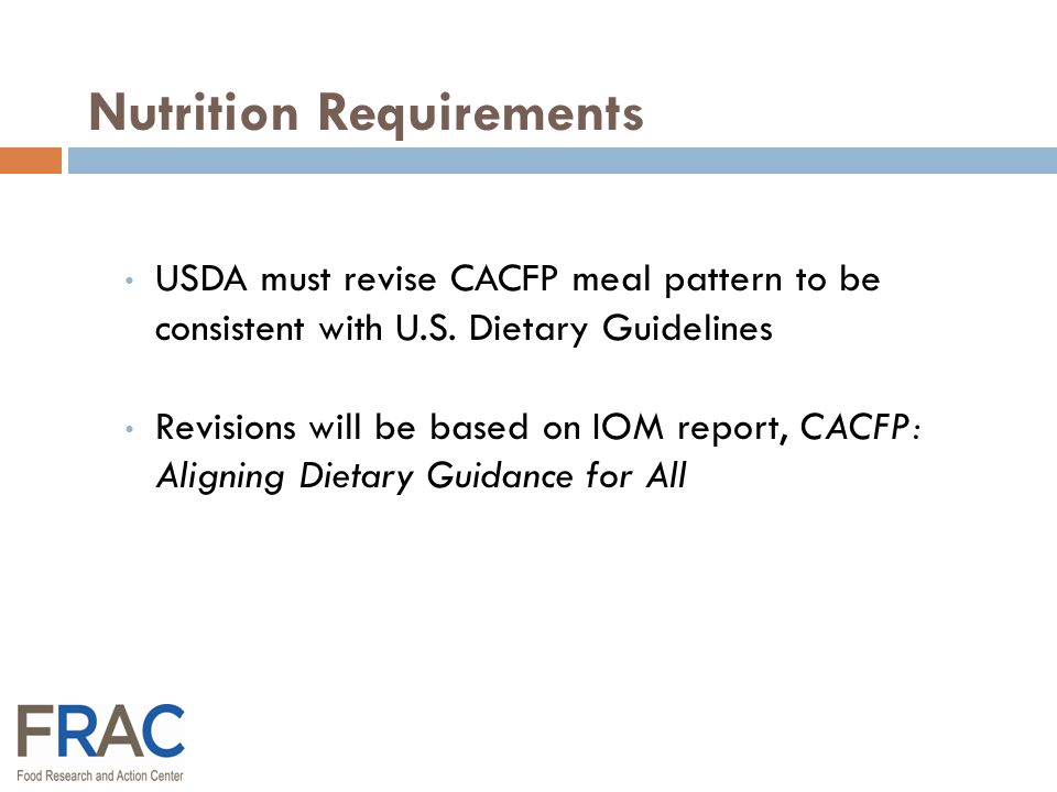 USDA: Regulations Congress: Law Federal Food Program Policy Process
