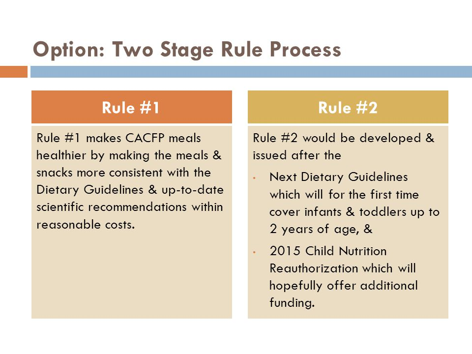 CACFP Paperwork Reduction Healthy, Hunger-Free Kids Act: CACFP