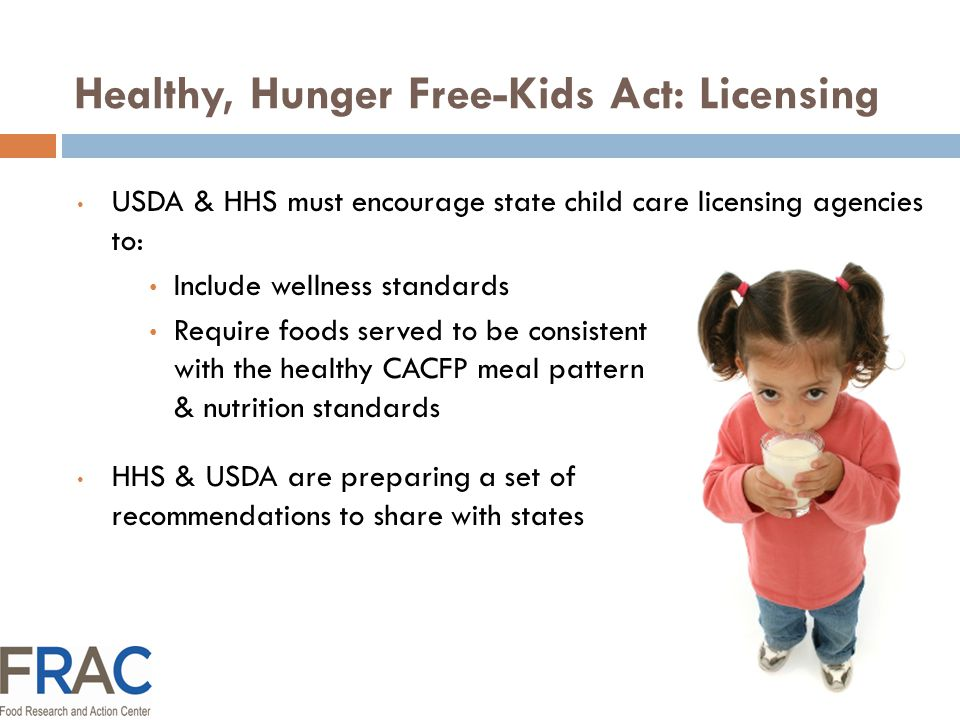 HHS Proposed Nutrition & Quality Requirements Establishes minimum health & safety training requirements for subsidized child care.