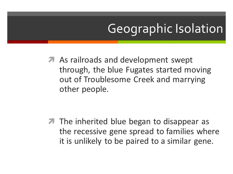 Geographic Isolation  As railroads and development swept through, the blue Fugates started moving out of Troublesome Creek and marrying other people.