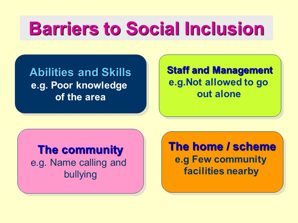 Promoting inclusion What do we mean? What makes a difference? What excludes?