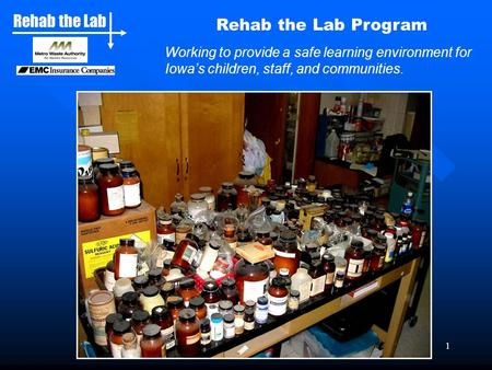 Rehab the Lab 1 Rehab the Lab Program Working to provide a safe learning environment for Iowa's children, staff, and communities.