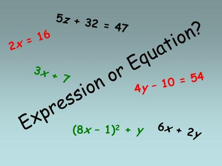 Expression or Equation? 3x + 7 4y – 10 = 54 5z + 32 = 47 6x + 2y (8x – 1) 2 + y 2x = 16.