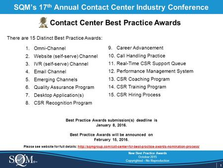1 New Best Practice Awards October 2015 Copyrighted – No Reproduction SQM's 17 th Annual Contact Center Industry Conference Contact Center Best Practice.