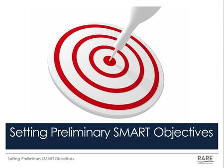 Setting Preliminary SMART Objectives. By the end of this lesson you will be able to: Describe the characteristics of a SMART Objective. Demonstrate Rare's.