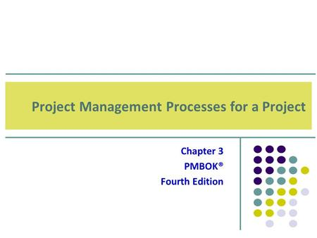 Project Management Processes for a Project
