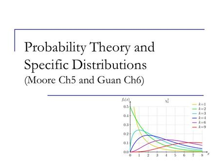 Probability Theory and Specific Distributions (Moore Ch5 and Guan Ch6)