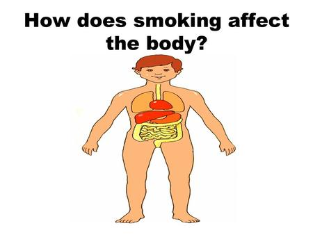 How does smoking affect the body?. Objectives All pupils will be able to list 5 ways smoking can harm the body Most pupils will be able to list more than.