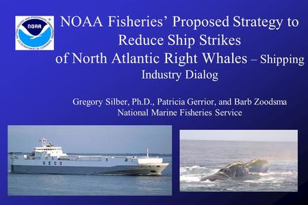 NOAA Fisheries' Proposed Strategy to Reduce Ship Strikes of North Atlantic Right Whales – Shipping Industry Dialog Gregory Silber, Ph.D., Patricia Gerrior,