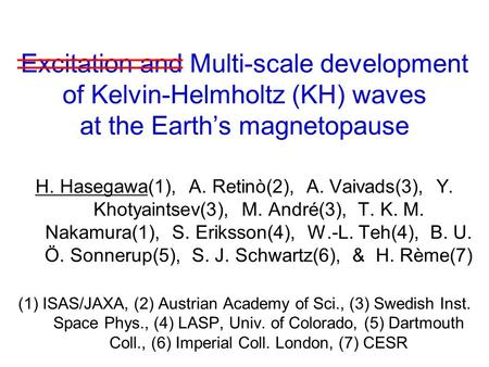 Excitation and Multi-scale development of Kelvin-Helmholtz (KH) waves at the Earth's magnetopause H. Hasegawa(1), A. Retinò(2), A. Vaivads(3), Y. Khotyaintsev(3),