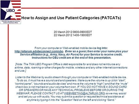 How to Assign and Use Patient Categories (PATCATs) From your computer or Web-enabled mobile device log into:  Enter.