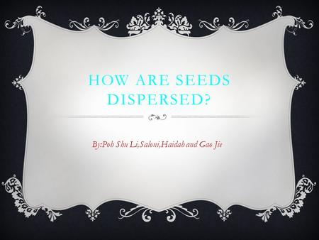 HOW ARE SEEDS DISPERSED? By:Poh Shu Li,Saloni,Haidah and Gao Jie.