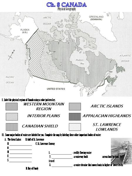 Physical Geography WESTERN MOUNTAIN REGION INTERIOR PLAINS CANADIAN SHIELD APPALACIAN HIGHLANDS ARCTIC ISLANDS ST. LAWRENCE LOWLANDS I. Label the physical.