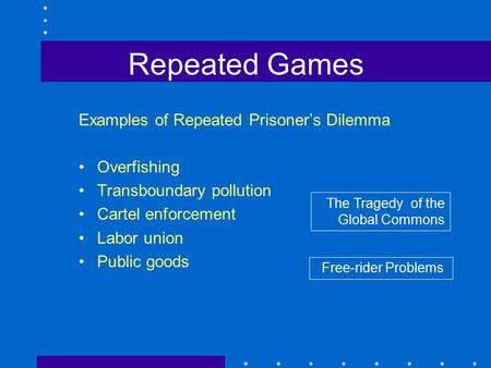 Repeated Games Examples of Repeated Prisoner's Dilemma Overfishing Transboundary pollution Cartel enforcement Labor union Public goods The Tragedy of the.