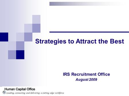 Leading, connecting and delivering a cutting edge workforce Strategies to Attract the Best August 2009 IRS Recruitment Office.