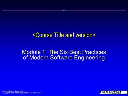 Unified Software Practices v5.5 Copyright © 1999 - 2000 Rational Software, all rights reserved 1 Module 1: The Six Best Practices of Modern Software Engineering.