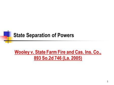 1 State Separation of Powers Wooley v. State Farm Fire and Cas. Ins. Co., 893 So.2d 746 (La. 2005)