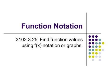 Function Notation 3102.3.25 Find function values using f(x) notation or graphs.