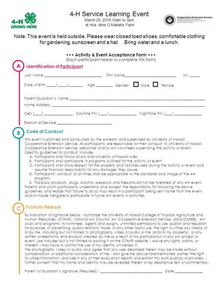 Activity & Event Acceptance Form (Each participant needs to complete this form) Last Name ________________ First Name___________________ M.I. _____ Date.