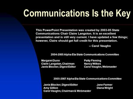 Communications Is the Key 2004-2005 Alpha Eta State Communications Committee Margaret Dunn Patty Fleming Claire Langston, Chairman Nancy Wilkes Janis Blocker,