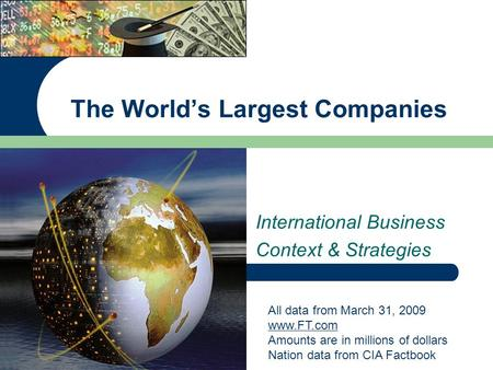 International Business Context & Strategies The World's Largest Companies All data from March 31, 2009 www.FT.com Amounts are in millions of dollars Nation.