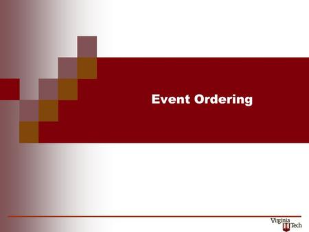 Event Ordering. CS 5204 – Operating Systems2 Time and Ordering The two critical differences between centralized and distributed systems are: absence of.