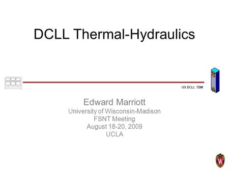 US DCLL TBM DCLL Thermal-Hydraulics Edward Marriott University of Wisconsin-Madison FSNT Meeting August 18-20, 2009 UCLA.