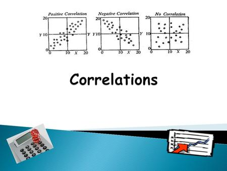  Write down as many terms/descriptors /evaluative points you can remember about Correlations  Definition of what a correlation is.  Description of.