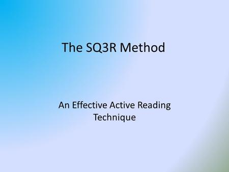 An Effective Active Reading Technique