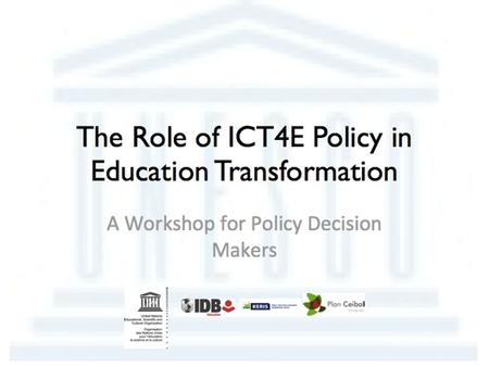 Sector Policy Advice and ICT in education Planning and Development of Education Systems Division.