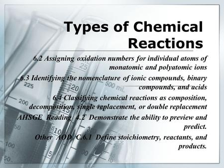 Types of Chemical Reactions 6.2 Assigning oxidation numbers for individual atoms of monatomic and polyatomic ions 6.3 Identifying the nomenclature of ionic.
