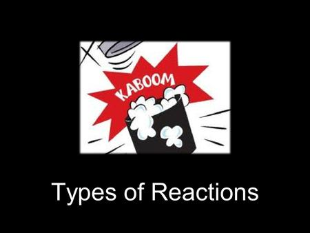 Types of Reactions. A chemical reaction is a process that is usually characterized by a chemical change in which the starting materials (reactants) are.