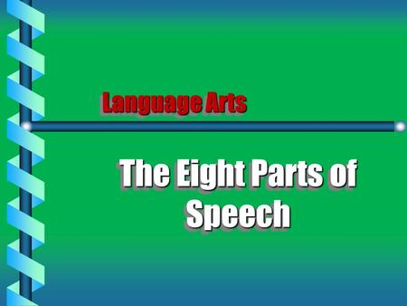 Language Arts The Eight Parts of Speech The Eight Parts of Speech.