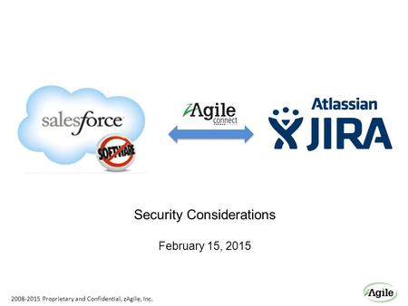 Security Considerations February 15, 2015 2008-2015 Proprietary and Confidential, zAgile, Inc.