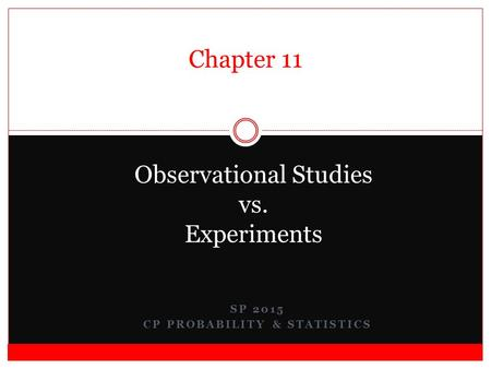 SP 2015 CP PROBABILITY & STATISTICS Observational Studies vs. Experiments Chapter 11.