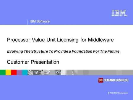 ® IBM Software © 2006 IBM Corporation Processor Value Unit Licensing for Middleware Evolving The Structure To Provide a Foundation For The Future Customer.