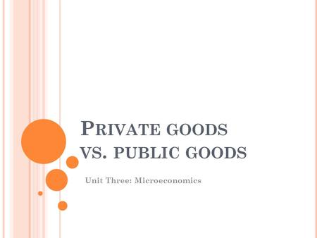 P RIVATE GOODS VS. PUBLIC GOODS Unit Three: Microeconomics.