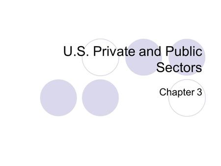 U.S. Private and Public Sectors Chapter 3. Objectives Evolution of households Evolution of the firm International Trade.