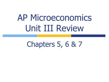 AP Microeconomics Unit III Review Chapters 5, 6 & 7.