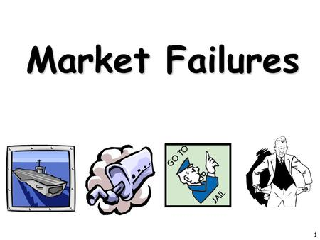 Market Failures 1. Review 1.Identify the three of the four market failures we have learned in this unit. 2.Explain why are public goods a market failure.