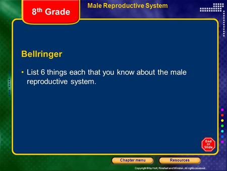 Copyright © by Holt, Rinehart and Winston. All rights reserved. ResourcesChapter menu Male Reproductive System Bellringer List 6 things each that you know.